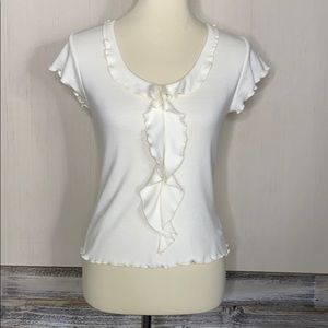 VINTAGE Soft Jersey Ruffle Cream Blouse Top